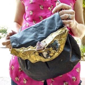 Vintage Fancy Nancy Leather Purse Natural Stones